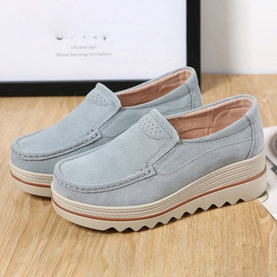 Casual Round Toe Leather Flat Heel Loafers_12