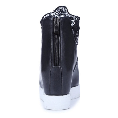 Zipper Hollow-out Wedge Heel Elegant Boots_8
