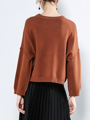 Casual Paneled Long Sleeve Solid Crew Neck Sweater_5