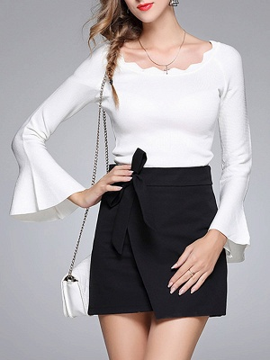 Sheath Solid Casual Crew Neck Frill Sleeve Sweater_1