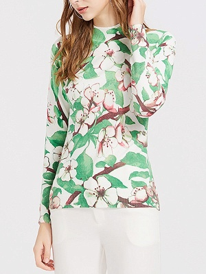 Green Crew Neck Shift Long Sleeve Floral Sweater_6