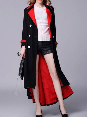 Black-Red Lapel High Low Pockets Buttoned Coat_2
