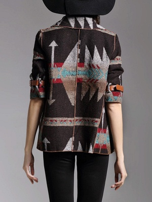 Khaki 3/4 Sleeve V neck Cotton Buttoned Coat_3