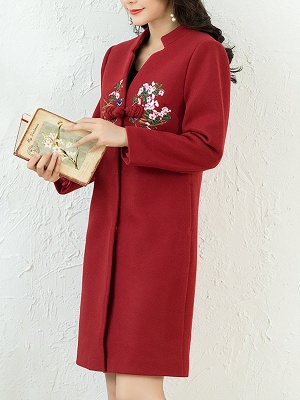 Floral Embroidered Stand Collar Shift Coats_10