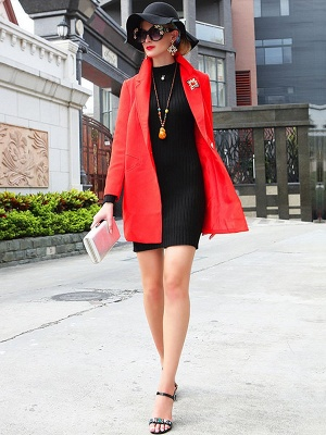 Red Solid Work Cotton Buttoned Pockets Patch Coat_5