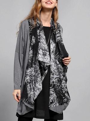 Casual Abstract Long Sleeve Shift Printed Coat_2