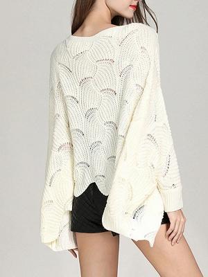 Casual Bateau/boat neck Batwing Sweater_4