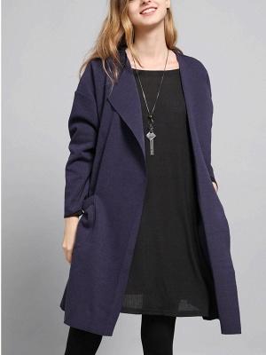 Navy Blue Pockets Solid Long Sleeve Coat_6