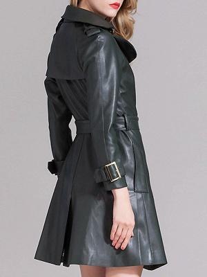 Dark Green Raglan Sleeve Work Lapel Pockets Coat_3