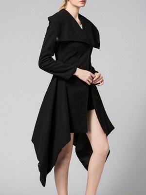 Black Long Sleeve Wool blend Work Asymmetrical Coat_4