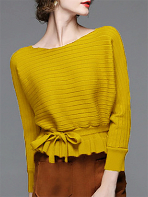 Solid Ribbed Casual Long Sleeve Sweater_3