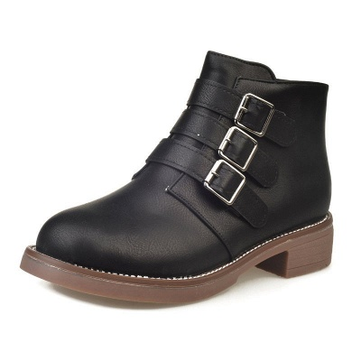 Zipper Daily Chunky Heel Round Toe Buckle Boots_8