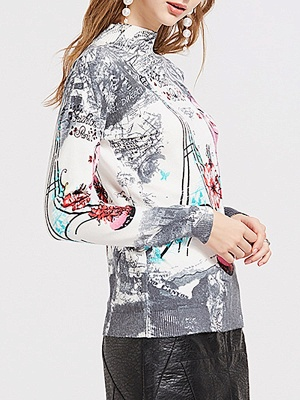 Gray Printed Graphic Long Sleeve Sweater_6
