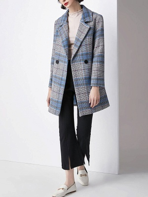 Blue Checkered/Plaid Work Buttoned Pockets Coat_5