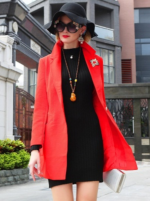 Red Solid Work Cotton Buttoned Pockets Patch Coat_4