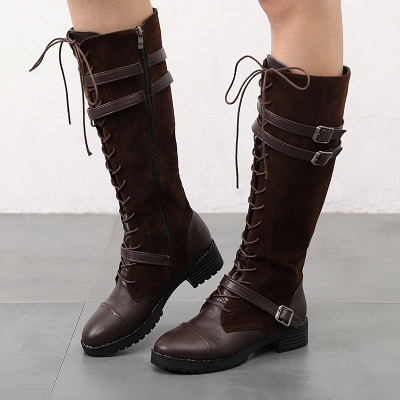 Daily Buckle Chunky Heel Suede Round Toe Lace-up Boot_1