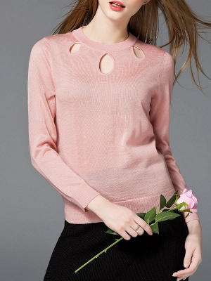 Solid Casual Long Sleeve Sweater_1