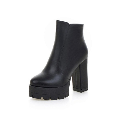Chunky Heel Daily Zipper Round Toe Boots_10