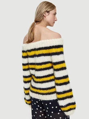 Striped Printed Bateau/boat neck Casual Sweater_4
