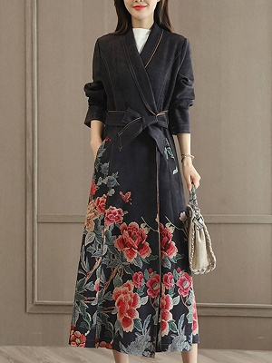 Casual Long Sleeve Pockets Floral-print A-line Coat_1