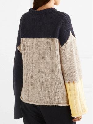 Multicolor Pleated Shift Long Sleeve Plain Sweater_4