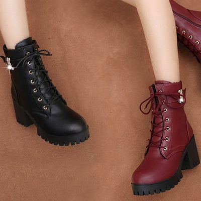 Lace-up Chunky Heel Round Toe Buckle Elegant Boots_6