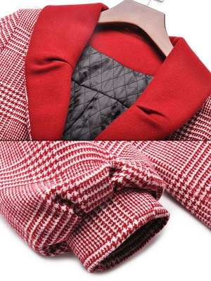 Burgundy Balloon Sleeve Buttoned Houndstooth Coat_6