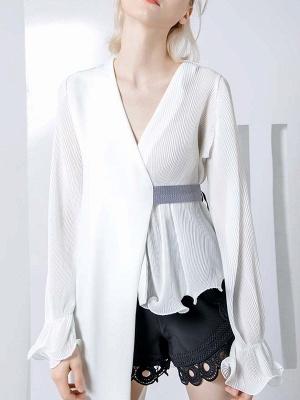 Frill Sleeve Casual Asymmetrical V neck Ruffled Folds Coats_1