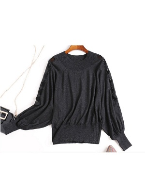 Crew Neck Batwing Casual Sweater_3