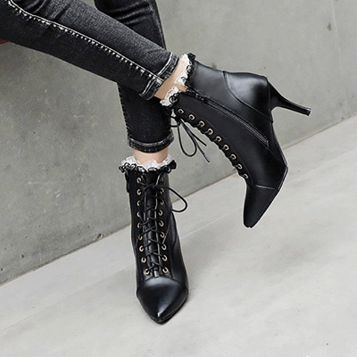 Date Fall Stiletto Heel Lace-up Pointed Toe Boots_5