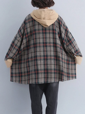 Checkered/Plaid Pockets Hoodie Batwing Coat_5