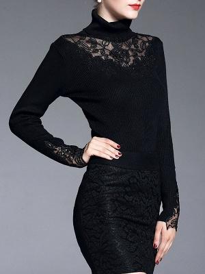 Shift Casual Long Sleeve Paneled Plain Sweater_7