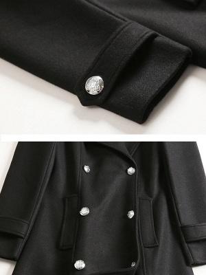 Black Long Sleeve Lapel Work Buttoned Shift Coat_6