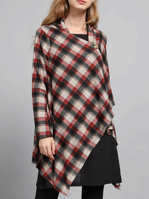 Checkered/Plaid High Low Casual Long Sleeve Coat_10