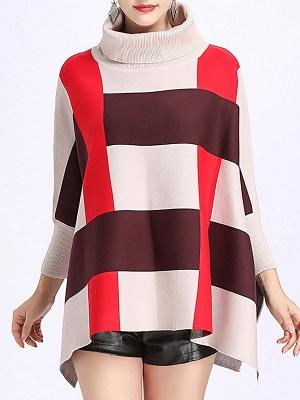Elegant Shift Batwing Color-block Sweater_12