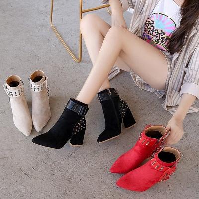 Chunky Heel Daily Rivet Pointed Toe Zipper Elegant Boots_7