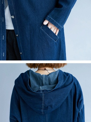 Blue Buttoned Casual Denim Solid Coat_6
