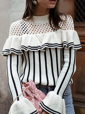 White Casual Printed Sweater_1