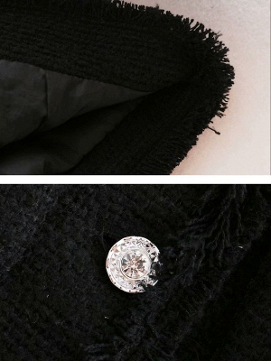 Black Casual Solid Crew Neck Buttoned Paneled Pockets Coat_5