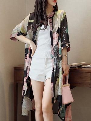 Asymmetric Stand Collar 3/4 Sleeve Holiday Chiffon Coat_1