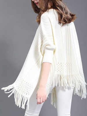 Shift Wool Batwing Casual Geometric Sweater_6