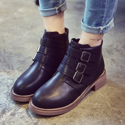 Zipper Daily Chunky Heel Round Toe Buckle Boots_2