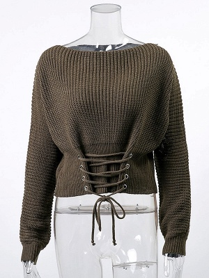 Lace up Long Sleeve Casual Crew Neck Sweater_2