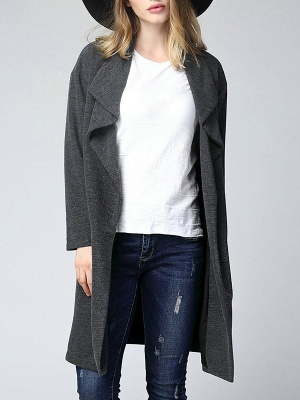 Gray Long Sleeve Casual Solid Pockets Coat_4