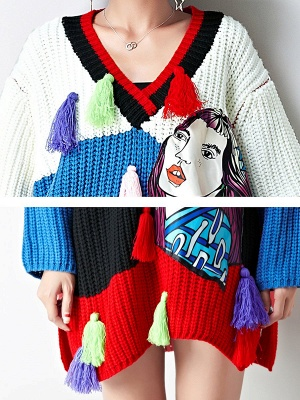 Multicolor Graphic V neck Knitted Statement Batwing Sweater_5