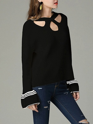 Cutout Casual Bell Sleeve Keyhole Sweater_6