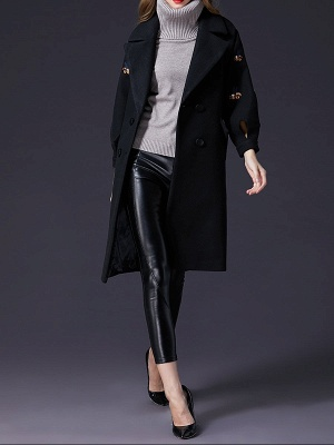 Black Lapel Balloon Sleeve Shift Buttoned Animal Embroidered Coat_4