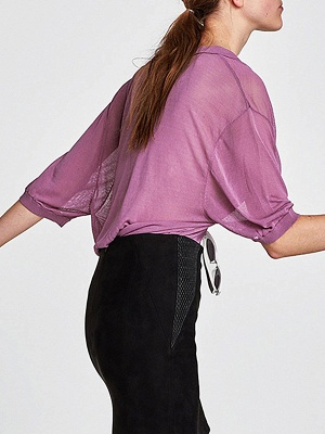 Purple Knitted 3/4 Sleeve V neck Sexy Sweater_4