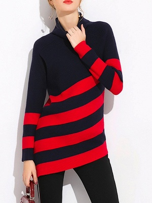 Navy Blue Sheath Casual Sweater_1