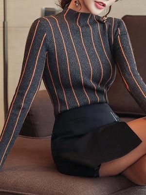 Casual Long Sleeve Sheath Sweater_9